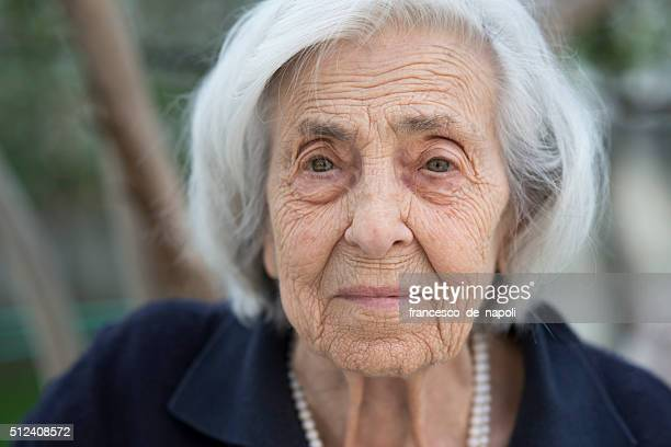 senior woman portrait - old woman stock photos and pictures
