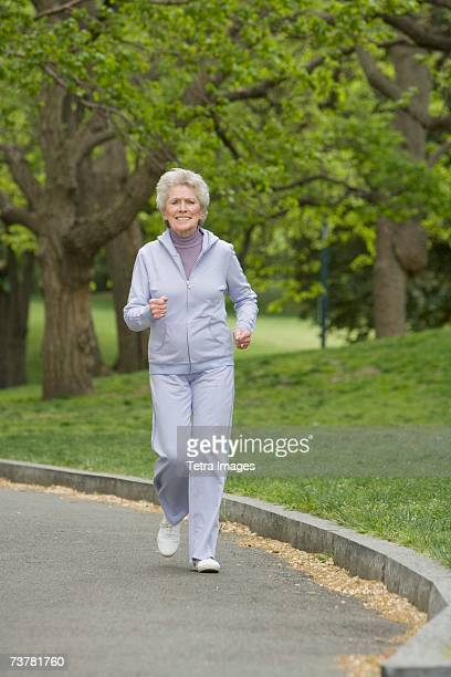 Senior woman power walking