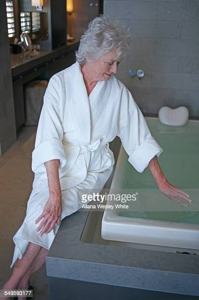 Senior Woman Preparing for a Bath