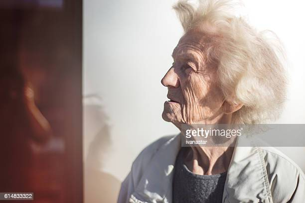 Senior Woman Profile, Lost in Thoughts