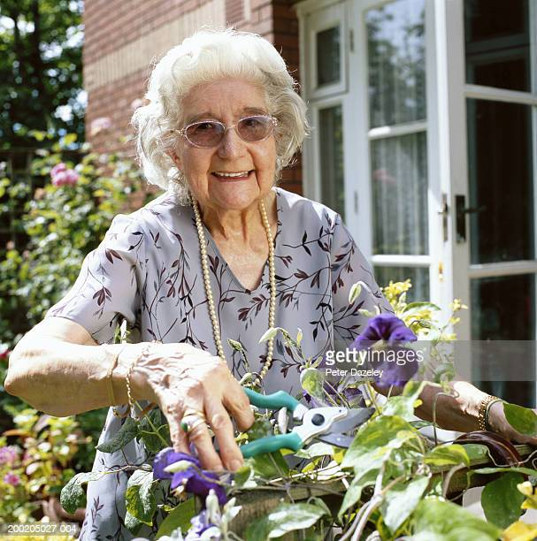 senior woman pruning plant, smiling, portrait - floral pattern dress stock pictures, royalty-free photos & images