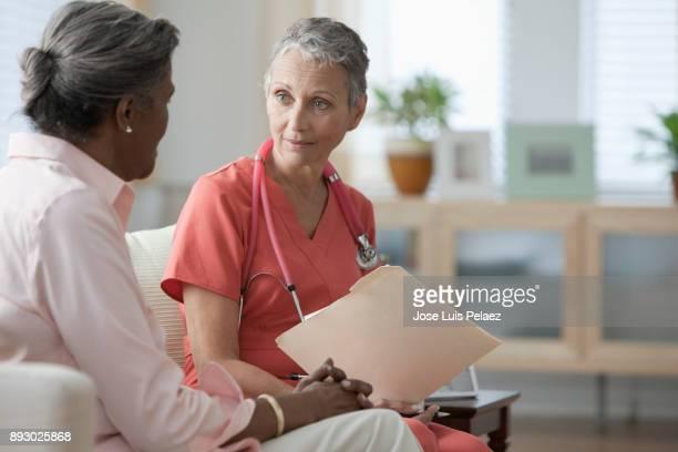 Senior woman receiving a medical examination