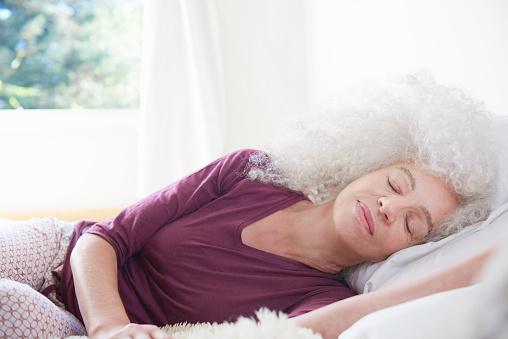senior woman relaxing in bedroom - gettyimageskorea