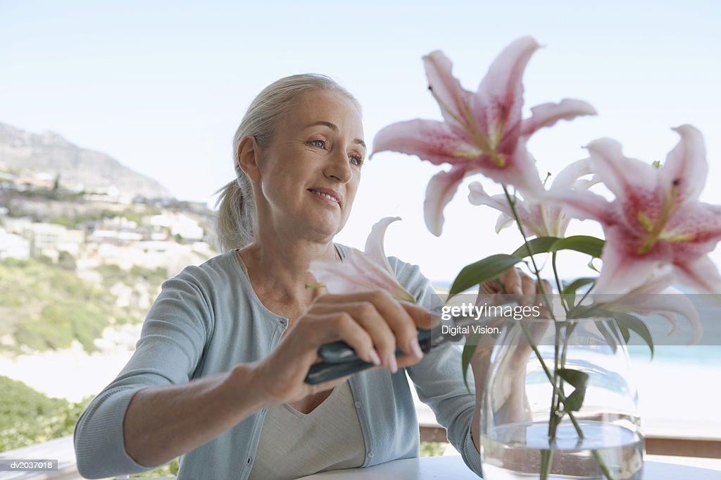 Senior Woman Sitting at a Table and Pruning Cut Flowers in a Vase : Stock Photo