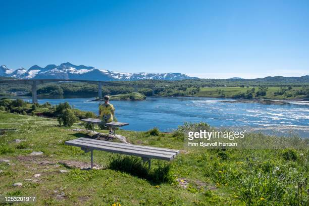 senior woman sitting on a bench at saltstraumen in northern norway - finn bjurvoll photos et images de collection