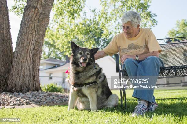 Senior Woman Sitting on Bench in Backyard with her Norwegian Elkhound Dog