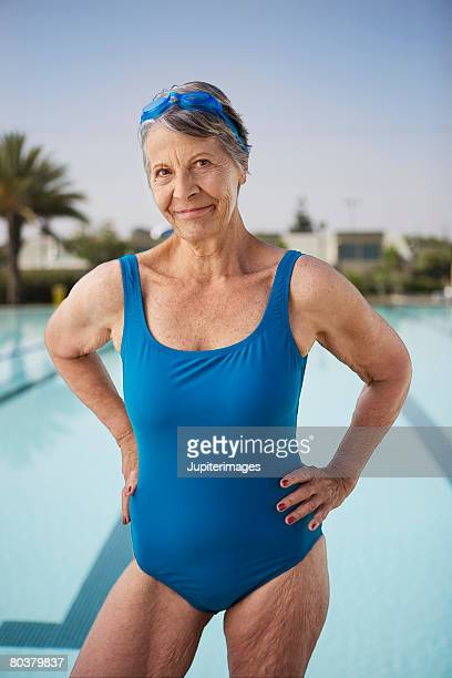 senior woman swimmer - old woman in swimsuit stock pictures, royalty-free photos & images