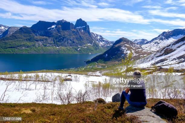 senior woman taking a brake from hiking at trailhead hesten at the island senja. - finn bjurvoll stockfoto's en -beelden