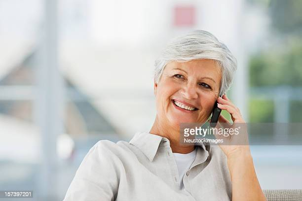 Senior woman talking on cellphone
