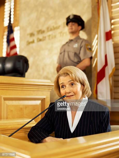 Senior woman testifying