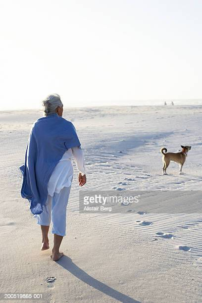 Senior woman walking on beach with dog, rear view, dusk