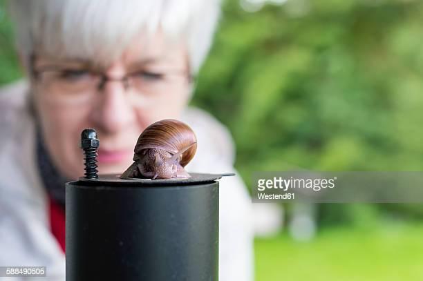 Senior woman watching snail