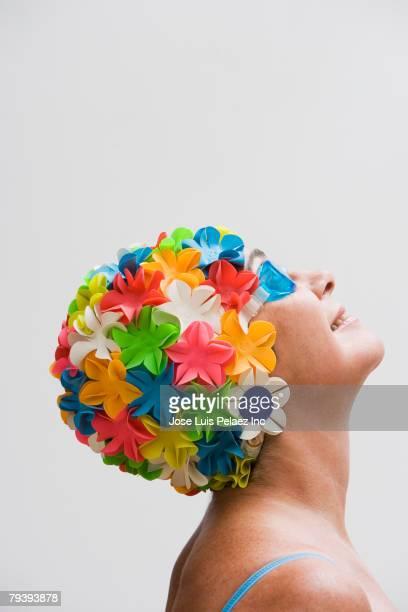Senior woman wearing bathing cap