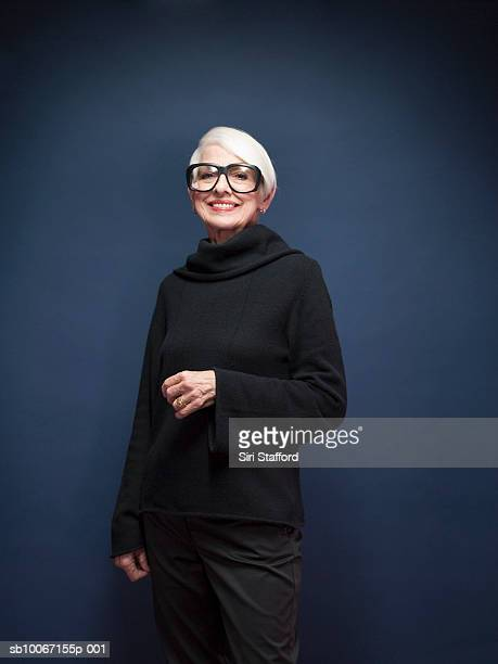 senior woman wearing oversized glasses, portrait - big bobs stock photos and pictures
