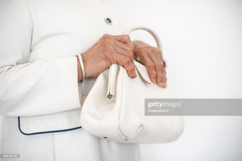 Senior Woman Wearing Stylish Outfit : Stock Photo