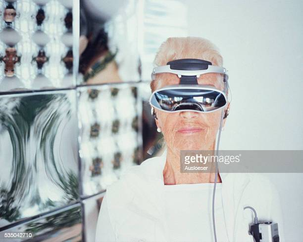 Senior woman with Cyberspace glasses