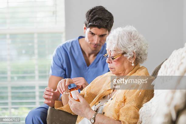 Senior woman with prescription medicine