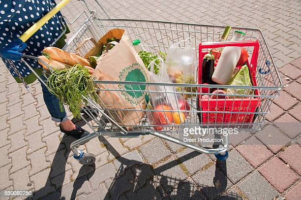 Senior woman with shopping cart filled