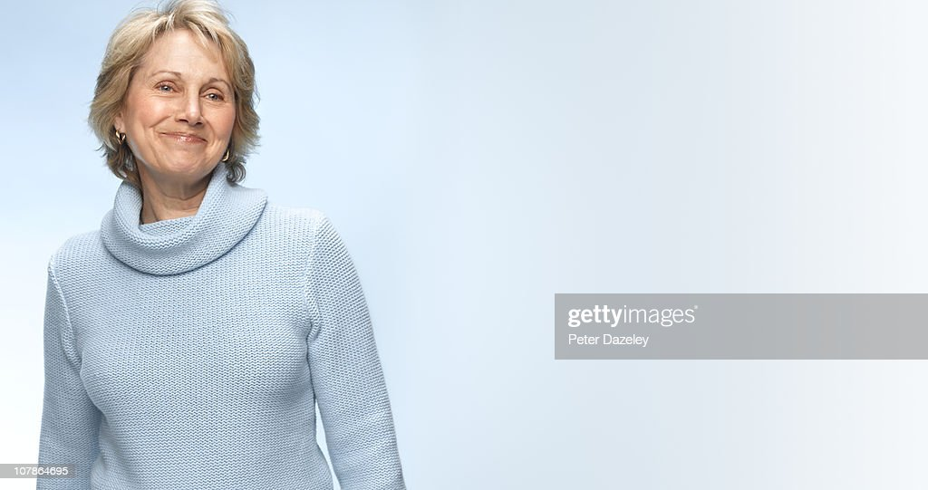Senior woman without make up and copy space : Stock Photo