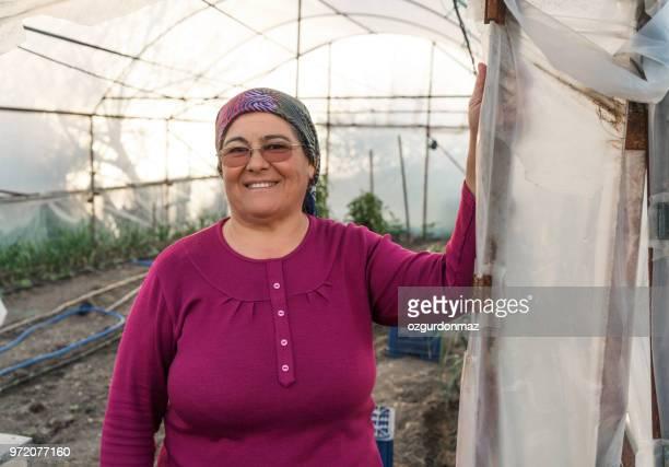 senior mujer trabajo en invernadero - pañuelo de cabeza fotografías e imágenes de stock