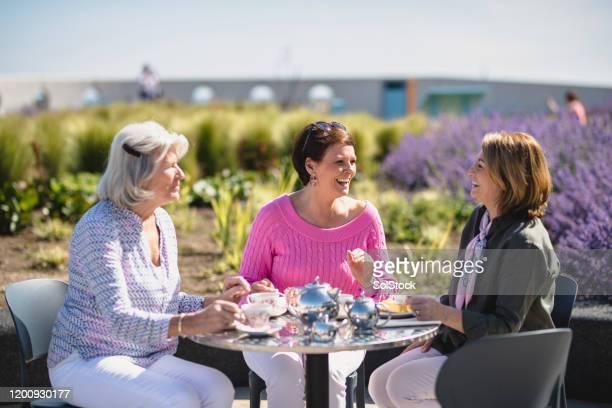 senior women enjoying tea outside in sunshine - amizade feminina imagens e fotografias de stock