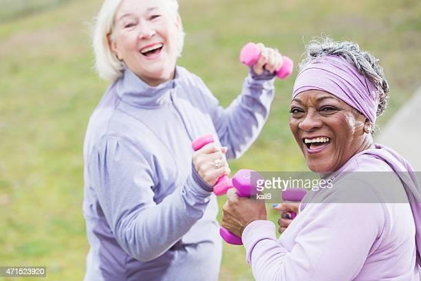 Senior women exercising in the park