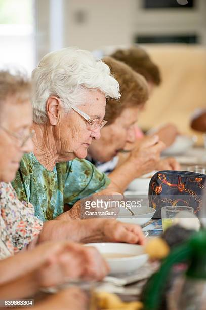 Senior Women Having Lunch in the Retirement Home