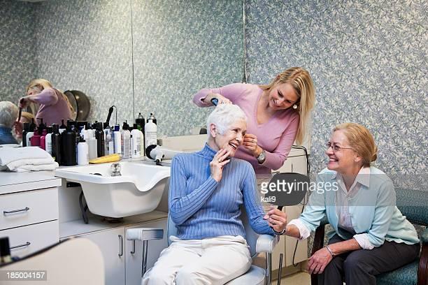 Senior women in hair salon
