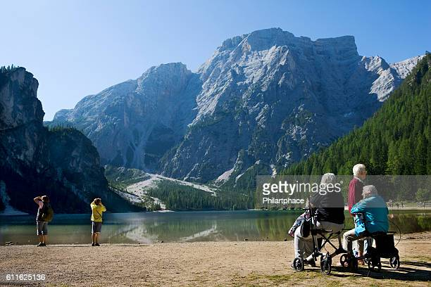 senior women in scenic mountain landscape of Dolomite Alps