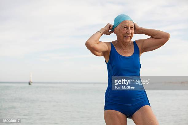 Senior Women in Swimsuit & Cap