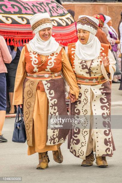 senior women in traditional clothing in osh kyrgyzstan - kyrgyzstan stock pictures, royalty-free photos & images