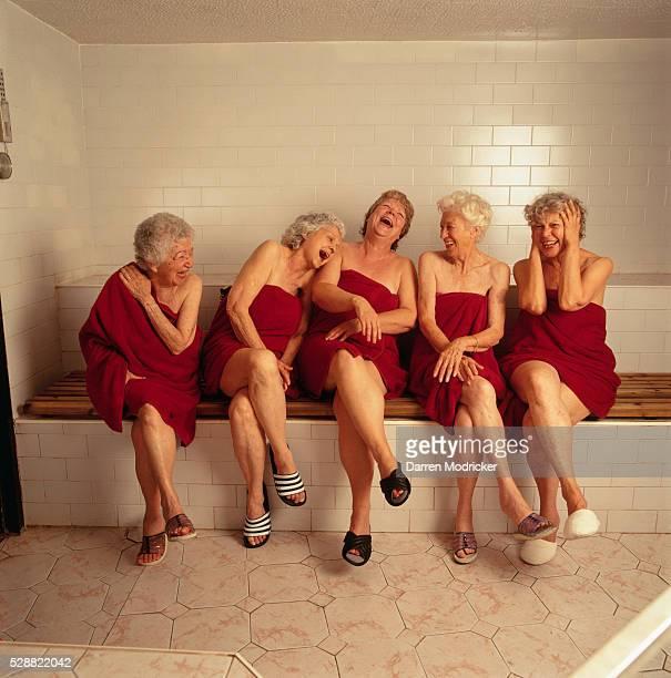 Senior Women Laughing in Sauna