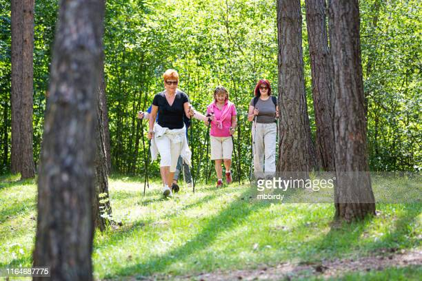senior women nordic walking - 50 59 years stock pictures, royalty-free photos & images