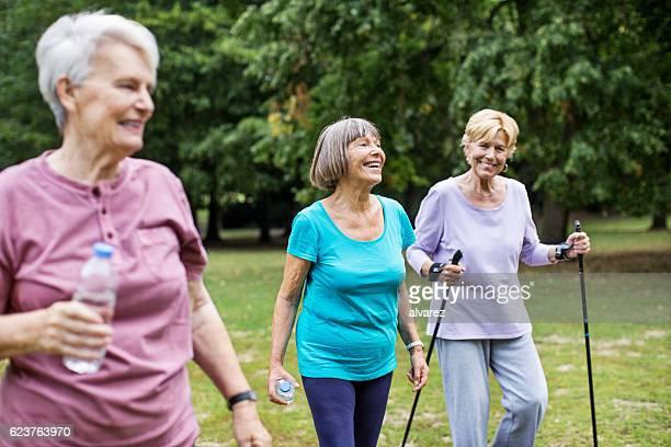 Senior women on morning walk in park