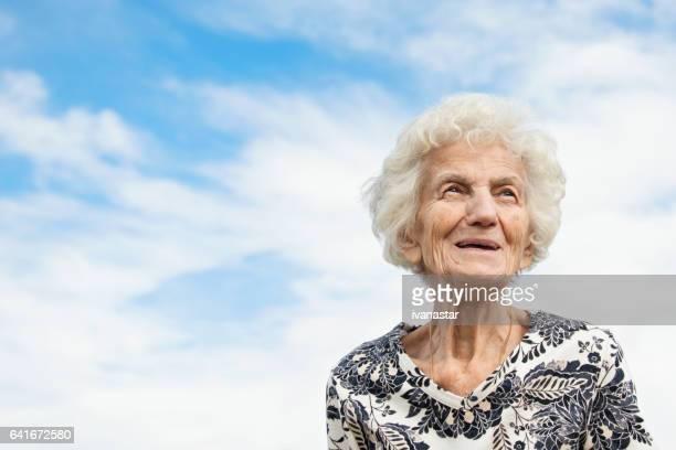 senior women outdoors, smiling - one senior woman only stock pictures, royalty-free photos & images
