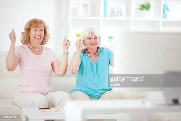 Senior women playing bingo