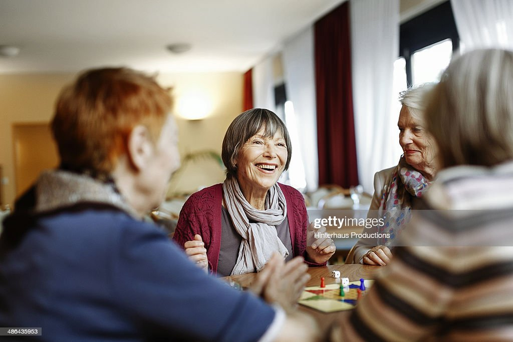 Senior Women Playing Board Game : Stock Photo