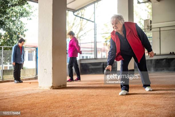 Senior Women Playing Petanque