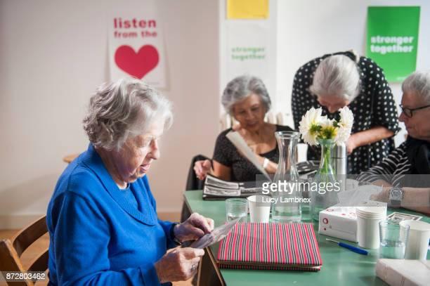 Senior women support group gathering