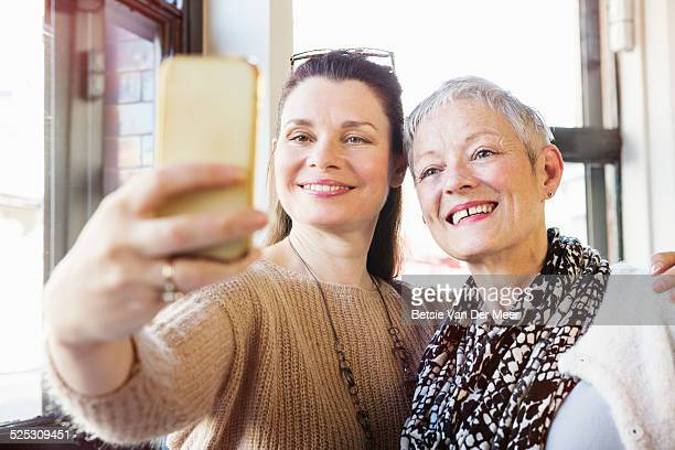 senior women taking Selfie with mobile phone.