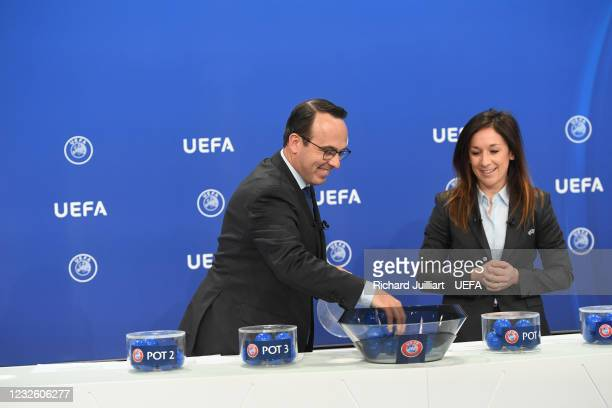 Senior Women's Football Competitions Manager David Gough and UEFA Chief of Women's Football Nadine Kessler during the FIFA Women's World Cup 2023...