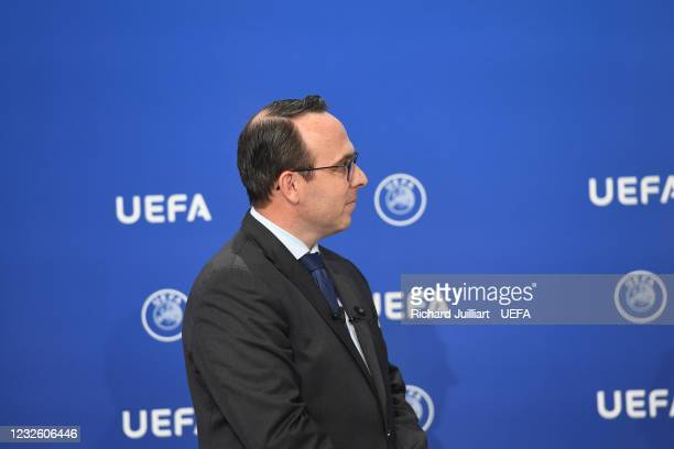 Senior Women's Football Competitions Manager David Gough during the FIFA Women's World Cup 2023 Qualifying Group Stage draw at the UEFA headquarters,...