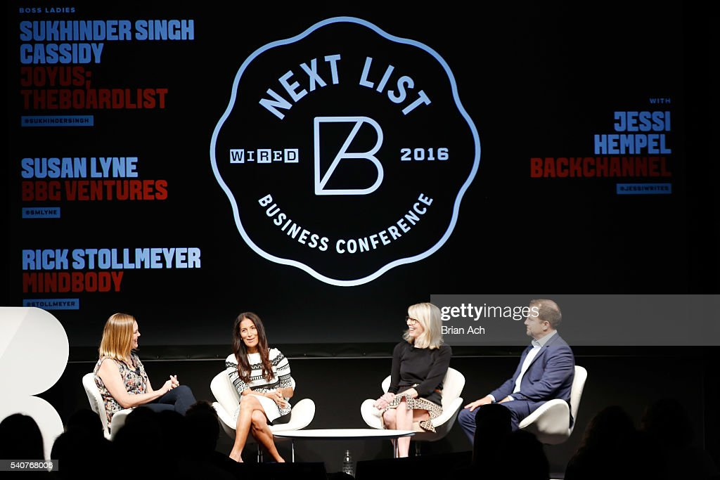Senior writer at WIRED Jessi Hempel, Founder & CEO at Joyus.com Sukhinder Singh Cassidy, President + Managing Partner, BBG Ventures Susan Lyne, and Co-Founder / CEO, MINDBODY Inc. Rick Stollmeyer participate in a panel discussion during the 2016 Wired Business Conference on June 16, 2016 in New York City.