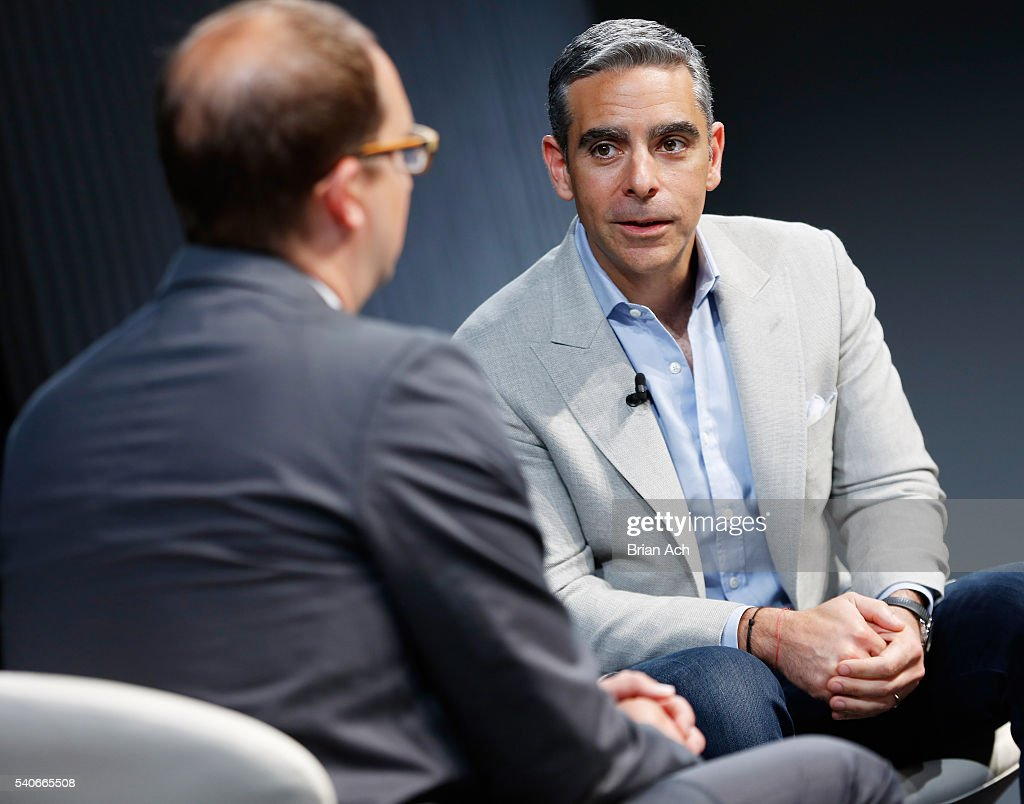 Senior writer at WIRED Marcus Wohlsen (L) speaks with Vice President of Messaging Products at Facebook David Marcus on stage during the 2016 Wired Business Conference on June 16, 2016 in New York City.