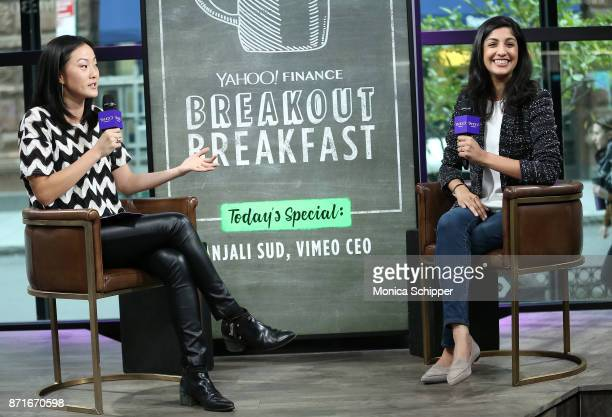 Senior writer onair reporter at Yahoo Finance Melody Hahm and Vimeo CEO Anjali Sud visit Yahoo Finance Breakout Breakfast at Build Studio on November...
