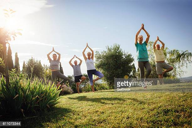 senior yoga class outdoors - health farm - fotografias e filmes do acervo