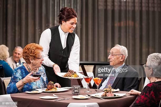 Seniors at Fine Dining Restaurant