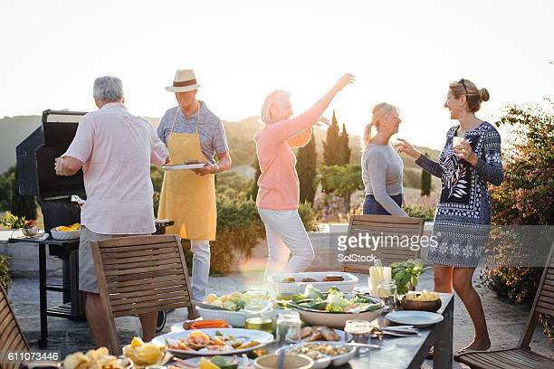 seniors bbq - barbecue social gathering stock pictures, royalty-free photos & images