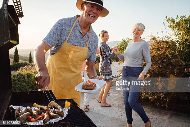 seniors bbq - grill concept stock photos and pictures
