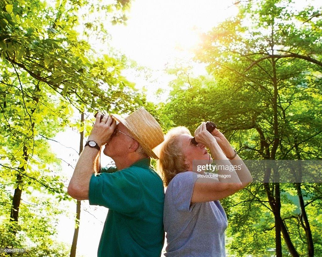 Seniors Bird Watching : Stock Photo